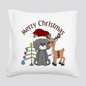 Christmas Kitty, Reindeer and Tree Square Canvas P