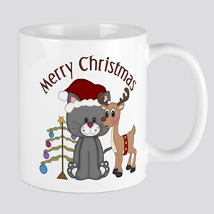 Christmas Kitty, Reindeer and Tree Mug