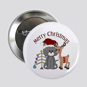 "Christmas Kitty, Reindeer and Tree 2.25"" Button"