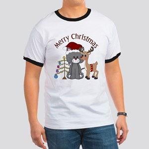 Christmas Kitty, Reindeer and Tree Ringer T