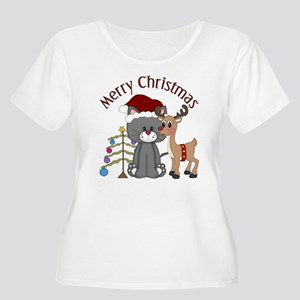Christmas Kitty, Reindeer and Tree Women's Plus Si