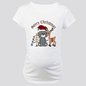 Christmas Kitty, Reindeer and Tree Maternity T-Shi