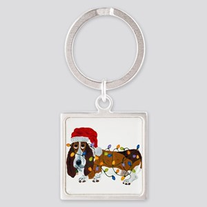 Basset Tangled In Christmas Lights Keychains