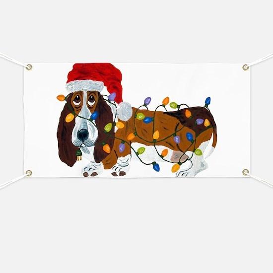 Basset Tangled In Christmas Lights Banner