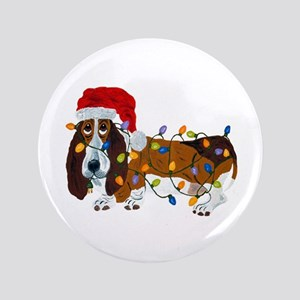 "Basset Tangled In Christmas Lights 3.5 3.5"" Button"