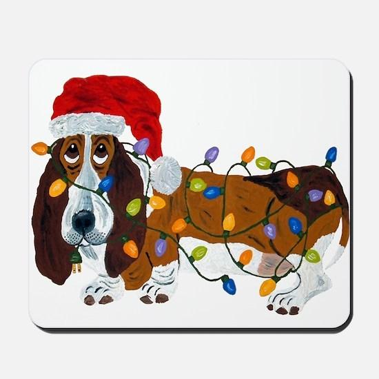 Basset Tangled In Christmas Lights Mousepad