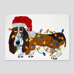 Basset Tangled In Christmas Lights 5'x7'Area Rug