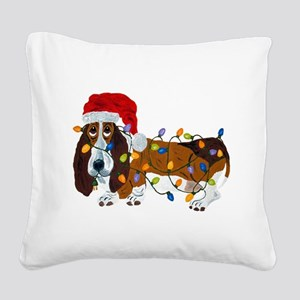 Basset Tangled In Christmas Lights Square Canvas P