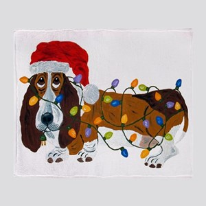 Basset Tangled In Christmas Lights Throw Blanket
