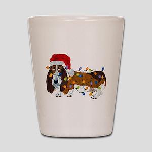 Basset Tangled In Christmas Lights Shot Glass