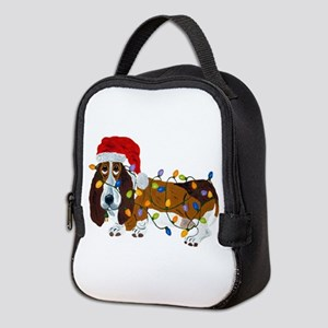 Basset Tangled In Christmas Lig Neoprene Lunch Bag