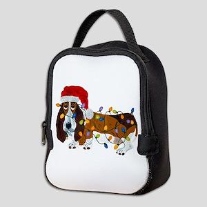 Basset Tangled In Christmas Lig Neoprene Lunch Bag