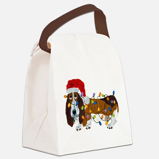 Basset Tangled In Christmas Lights Canvas Lunch Ba