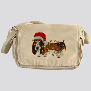 Basset Tangled In Christmas Lights Messenger Bag