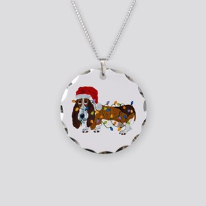 Basset Tangled In Christmas Necklace Circle Charm