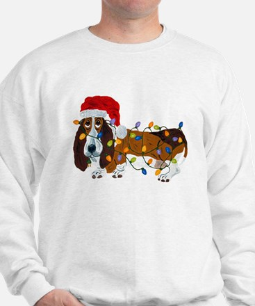 Basset Tangled In Christmas Lights Sweater