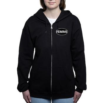 FEMME Black Euro Oval Women's Zip Hoodie