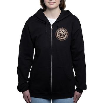 Distressed Wild Beaver Stamp Women's Zip Hoodie