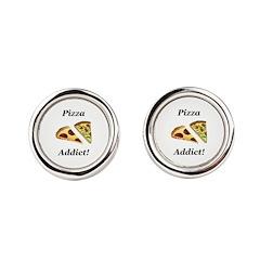Pizza Addict Round Cufflinks