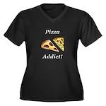 Pizza Addict Women's Plus Size V-Neck Dark T-Shirt