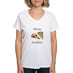 Pizza Junkie Women's V-Neck T-Shirt