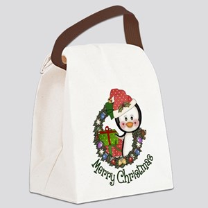 Christmas Penguin and Gifts Wreath Canvas Lunch Ba