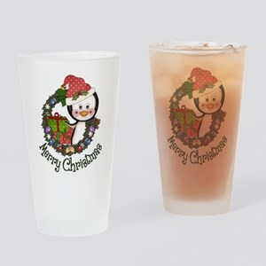 Christmas Penguin and Gifts Wreath Drinking Glass
