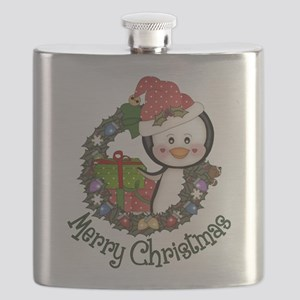 Christmas Penguin and Gifts Wreath Flask