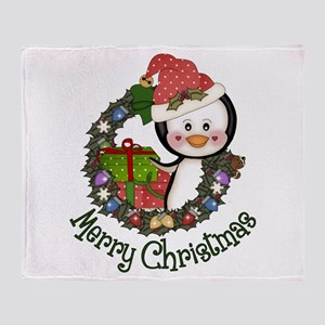Christmas Penguin and Gifts Wreath Throw Blanket