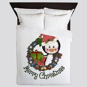 Christmas Penguin and Gifts Wreath Queen Duvet
