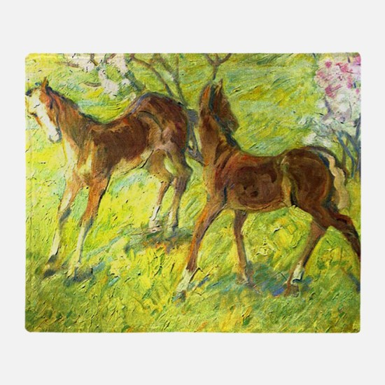 Jumping Foals by Franz Marc Throw Blanket