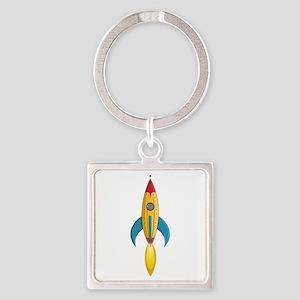 Rocket Ship Square Keychain