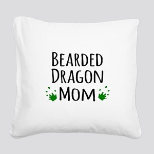 Bearded Dragon Mom Square Canvas Pillow