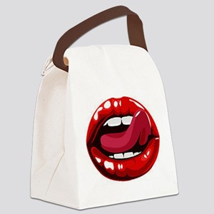 Red Lips Canvas Lunch Bag