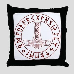 Mjölnir Rune Shield Throw Pillow