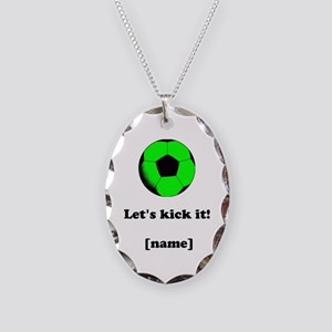 Personalized Lets Kick It! - GREEN Necklace Oval C