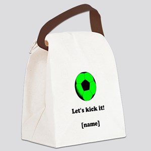 Personalized Lets kick it! - GREEN Canvas Lunch Ba
