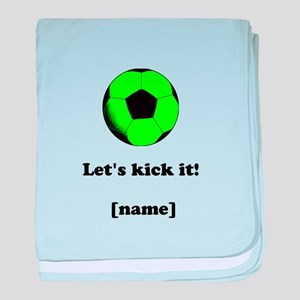 Personalized Lets kick it! - GREEN baby blanket
