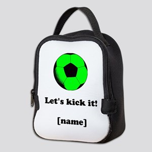 Personalized Lets kick it! - GREEN Neoprene Lunch