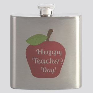 Happy Teacher Day with Big Red Apple Flask