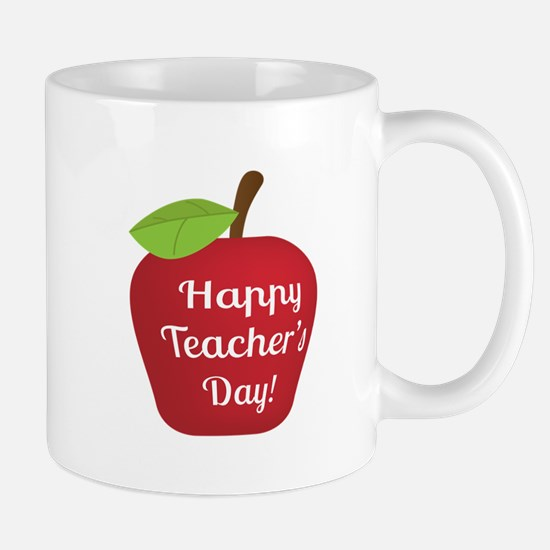 Happy Teacher Day with Big Red Apple Mugs
