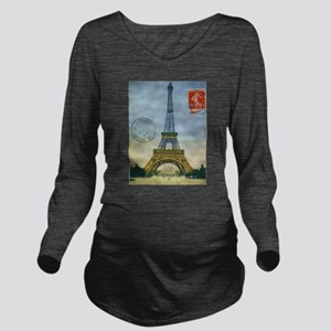 VINTAGE EIFFEL TOWER Long Sleeve Maternity T-Shirt
