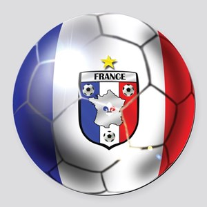French Soccer Ball Round Car Magnet