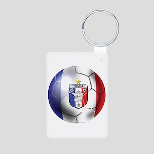French Soccer Ball Aluminum Photo Keychain