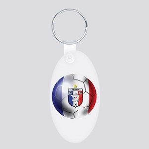 French Soccer Ball Aluminum Oval Keychain