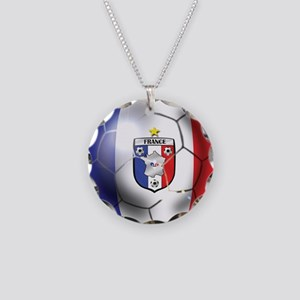 French Soccer Ball Necklace Circle Charm