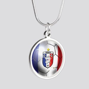French Soccer Ball Silver Round Necklace