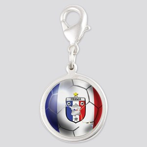 French Soccer Ball Silver Round Charm
