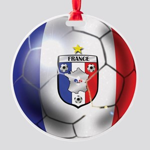 French Soccer Ball Round Ornament