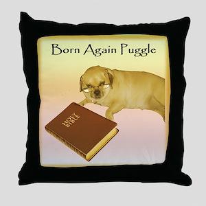 Born Again Puggle Throw Pillow